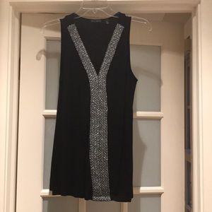 Willi Smith sleeveless black top with sparkle trim